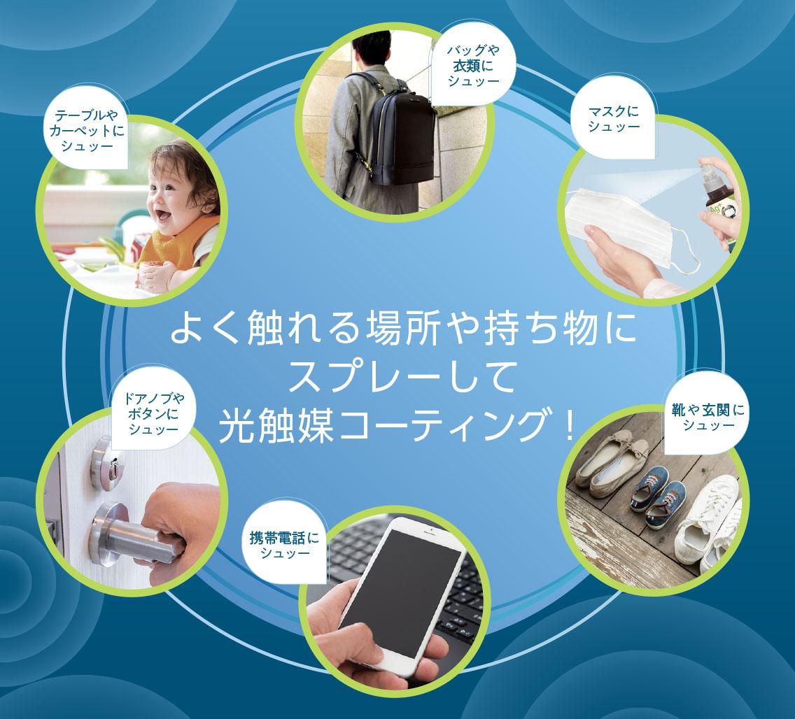 家庭用用に製品化したDIY GENIUSを使用して抗菌、ウイルス除菌を。抗菌・抗ウイルス・消臭効果